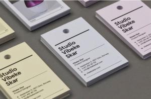 An arrangement of business card/tags