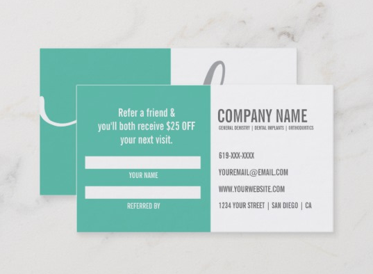 Business card as a referral card